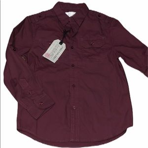 Free Planet Button Down Long Sleeve Shirt Red 6